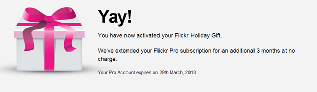 Flickr Pro User? Get a 3 extra months for free