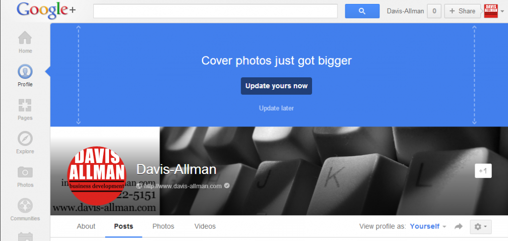 Google+ Cover image change and profile page update