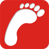 Logo - a foot emblem on a red background