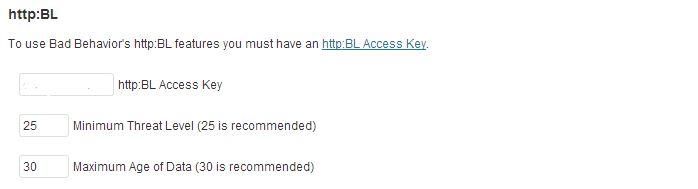 Bad Behavior WordPress plugin, Project Honey Pot blacklist settings.
