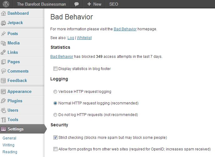 Recommended setting for the Bad Behavior WordPress Plugin