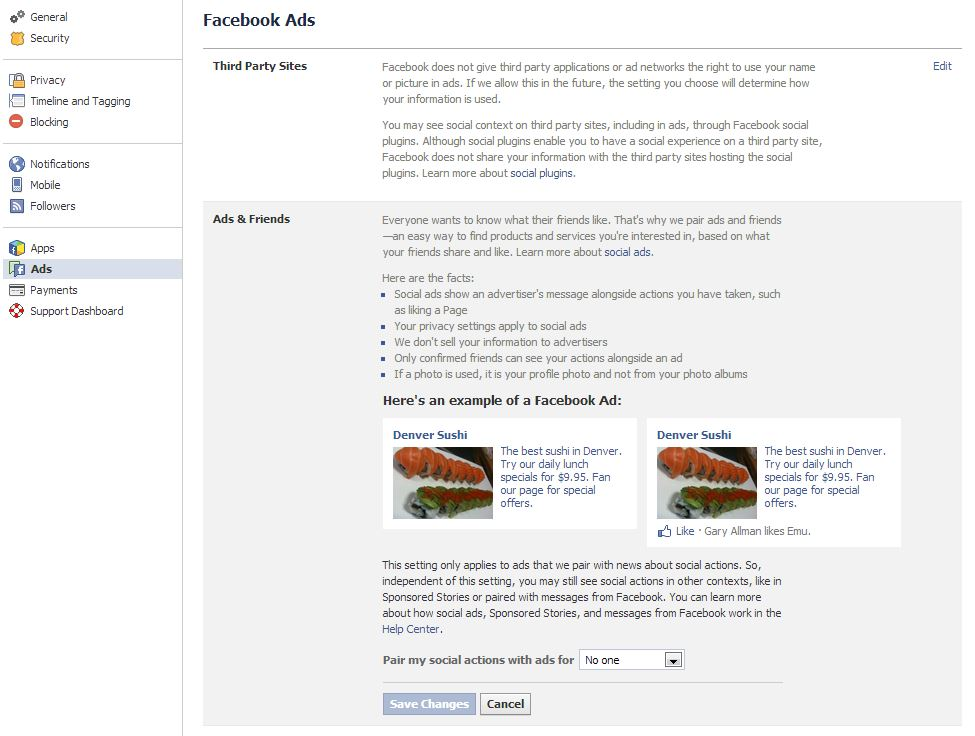 Screen capture of the Facebook Ads Settings page