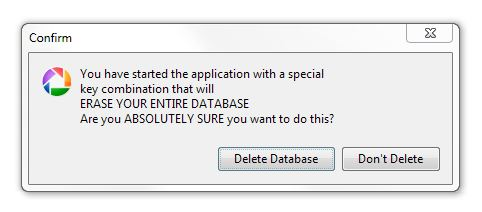 Only do this if you are absolutely sure you want to delete your Picasa Database.