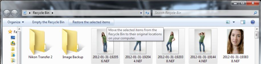 Restoring pictures from the Recycle Bin