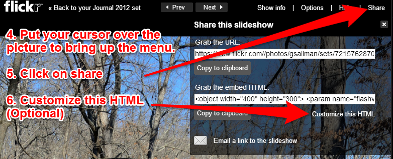 How to embed an original style Flickr Slideshow